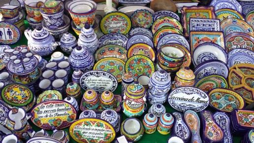 Maiolica pottery, typical of the regio